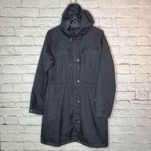 Columbia womens long black jacket w/hood
